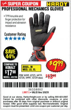 Harbor Freight Coupon HARDY PROFESSIONAL MECHANIC'S GLOVES Lot No. 62524/64731/62525/56249/64947/62526 Expired: 2/8/20 - $9.99