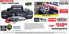 Harbor Freight Coupon BADLAND APEX 12,000 LB. TRUCK/SUV WINCH Lot No. 56385 Expired: 6/30/20 - $549.99