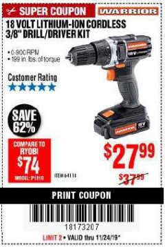 "Harbor Freight Coupon 18 VOLT LITHIUM-ION CORDLESS 3/8"" DRILL/DRIVER KIT Lot No. 64118 Expired: 11/24/19 - $27.99"