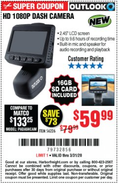 Harbor Freight Coupon OUTLOOK HD 1080P DASH CAMERA  Lot No. 56226 EXPIRES: 6/30/20 - $59.99