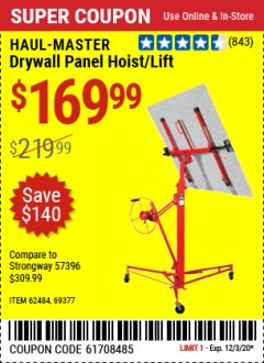 Harbor Freight Coupon DRYWALL PANEL HOIST/LIFT Lot No. 62484/69377 Valid Thru: 11/25/20 - $169.99