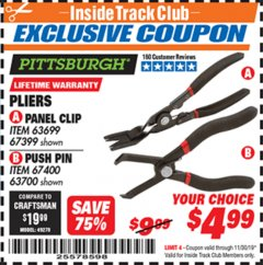 Harbor Freight ITC Coupon PLIERS PANEL CLIP PUSH PIN Lot No. 63699/67399/67400/63700 Expired: 11/30/19 - $4.99