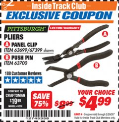 Harbor Freight ITC Coupon PLIERS PANEL CLIP PUSH PIN Lot No. 63699/67399/67400/63700 Valid: 2/1/20 - 2/29/20 - $4.99