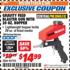 Harbor Freight ITC Coupon GRAVITY FEED BLASTER GUN WITH 20 OZ HOPPER Lot No. 95793 Expired: 11/30/19 - $14.99