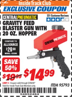 Harbor Freight ITC Coupon GRAVITY FEED BLASTER GUN WITH 20 OZ HOPPER Lot No. 95793 Expired: 2/29/20 - $14.99