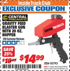 Harbor Freight ITC Coupon GRAVITY FEED BLASTER GUN WITH 20 OZ HOPPER Lot No. 95793 Valid Thru: 6/30/20 - $14.99