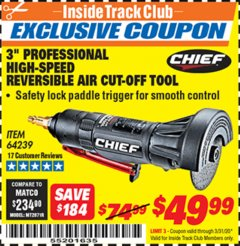 "Harbor Freight ITC Coupon 3"" PROFESSIONAL HIGH-SPEED REVERSIBLE AIR CUT-OFF TOOL Lot No. 64239 Expired: 3/31/20 - $49.99"