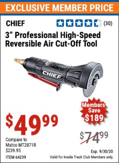 "Harbor Freight ITC Coupon 3"" PROFESSIONAL HIGH-SPEED REVERSIBLE AIR CUT-OFF TOOL Lot No. 64239 Expired: 9/30/20 - $49.99"