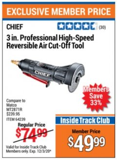 "Harbor Freight ITC Coupon 3"" PROFESSIONAL HIGH-SPEED REVERSIBLE AIR CUT-OFF TOOL Lot No. 64239 Valid Thru: 12/3/20 - $49.99"