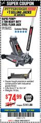 Harbor Freight Coupon RAPID PUMP 3 TON HEAVY DUTY STEEL FLOOR JACK Lot No. 68048/69227/62116/62590/62584 Expired: 8/20/17 - $74.99