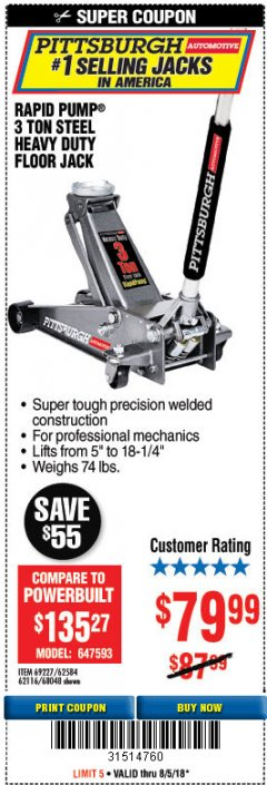 Harbor Freight Coupon RAPID PUMP 3 TON HEAVY DUTY STEEL FLOOR JACK Lot No. 68048/69227/62116/62590/62584 Expired: 8/5/18 - $79.99