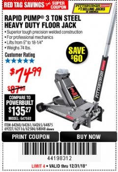 Harbor Freight Coupon RAPID PUMP 3 TON HEAVY DUTY STEEL FLOOR JACK Lot No. 68048/69227/62116/62590/62584 Expired: 12/31/18 - $74.99