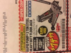 Harbor Freight Coupon RAPID PUMP 3 TON HEAVY DUTY STEEL FLOOR JACK Lot No. 68048/69227/62116/62590/62584 Expired: 3/31/19 - $74.99