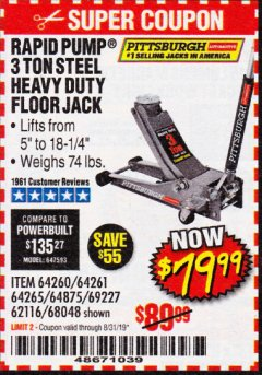 Harbor Freight Coupon RAPID PUMP 3 TON HEAVY DUTY STEEL FLOOR JACK Lot No. 68048/69227/62116/62590/62584 Expired: 8/31/19 - $79.99