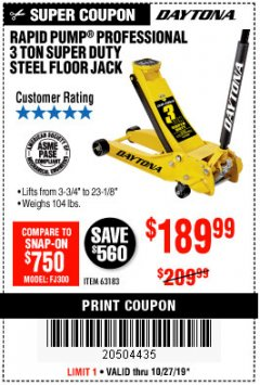 Harbor Freight Coupon RAPID PUMP 3 TON HEAVY DUTY STEEL FLOOR JACK Lot No. 68048/69227/62116/62590/62584 Expired: 10/27/19 - $189.99