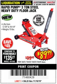Harbor Freight Coupon RAPID PUMP 3 TON HEAVY DUTY STEEL FLOOR JACK Lot No. 68048/69227/62116/62590/62584 Expired: 11/10/19 - $89.99