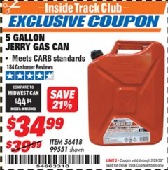 Harbor Freight ITC Coupon 5 GALLON JERRY GAS CAN Lot No. 56418/99551 Expired: 2/29/20 - $34.99