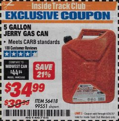 Harbor Freight ITC Coupon 5 GALLON JERRY GAS CAN Lot No. 56418/99551 Expired: 4/30/20 - $34.99