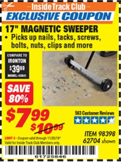 "Harbor Freight ITC Coupon 17"" MAGNETIC SWEEPER Lot No. 98398/62704 Expired: 11/30/19 - $7.99"