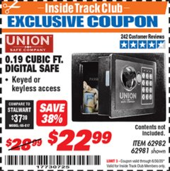 Harbor Freight ITC Coupon 0.19 CUBIT FT. DIGITAL SAFE Lot No. 62982/62981 Dates Valid: 12/31/69 - 6/30/20 - $22.99