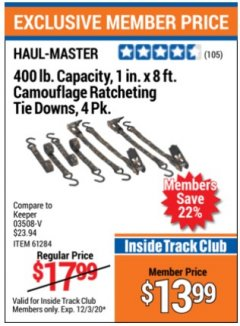 "Harbor Freight ITC Coupon 4 PIECE, 1"" X 8 FT. CAMOUFLAGE RATCHETING TIE DOWNS Lot No. 98472/61956/61284 Valid: 11/3/20 - 12/3/20 - $13.99"