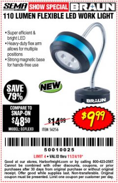 Harbor Freight Coupon BRAUN 110 LUMEN FLEXIBLE LED WORK LIGHT Lot No. 56256 Expired: 11/24/19 - $9.99