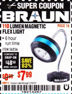 Harbor Freight Coupon BRAUN 110 LUMEN FLEXIBLE LED WORK LIGHT Lot No. 56256 Valid Thru: 2/29/20 - $7.99