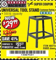 Harbor Freight Coupon UNIVERSAL TOOL STAND Lot No. 46075/69805 EXPIRES: 7/2/20 - $29.99