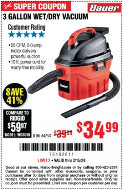 Harbor Freight Coupon 3 GALLON WET/DRY VACUUM Lot No. 64753 Expired: 3/15/20 - $34.99