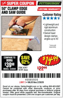 Harbor Freight Coupon 50 CLAMP EDGE AND SAW GUIDE Lot No. 56363, 66581 Valid Thru: 2/29/20 - $14.99
