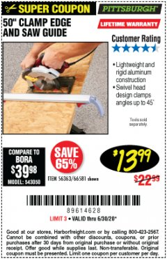 Harbor Freight Coupon 50 CLAMP EDGE AND SAW GUIDE Lot No. 56363, 66581 Expired: 6/30/20 - $13.99