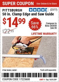 Harbor Freight Coupon 50 CLAMP EDGE AND SAW GUIDE Lot No. 56363, 66581 Valid Thru: 10/31/20 - $14.99