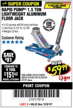 Harbor Freight Coupon PITTSBURGH RAPID PUMP 1.5 TON LIGHTWEIGHT ALUMINUM FLOOR JACK Lot No. 64980/64552/64832/68053/62160/62516/60569/64545 Expired: 12/8/19 - $59.99
