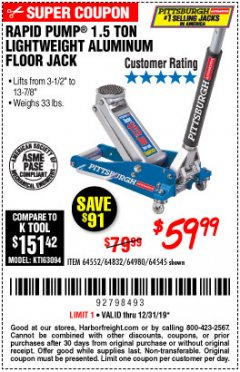 Harbor Freight Coupon PITTSBURGH RAPID PUMP 1.5 TON LIGHTWEIGHT ALUMINUM FLOOR JACK Lot No. 64980/64552/64832/68053/62160/62516/60569/64545 Expired: 12/31/19 - $59.99