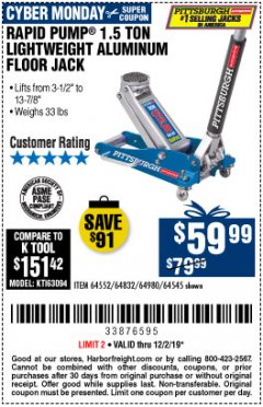 Harbor Freight Coupon PITTSBURGH RAPID PUMP 1.5 TON LIGHTWEIGHT ALUMINUM FLOOR JACK Lot No. 64980/64552/64832/68053/62160/62516/60569/64545 Expired: 12/2/19 - $59.99
