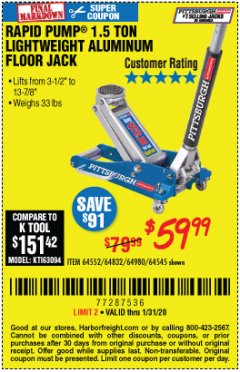 Harbor Freight Coupon PITTSBURGH RAPID PUMP 1.5 TON LIGHTWEIGHT ALUMINUM FLOOR JACK Lot No. 64980/64552/64832/68053/62160/62516/60569/64545 Expired: 1/31/20 - $59.99