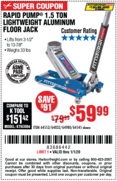 Harbor Freight Coupon PITTSBURGH RAPID PUMP 1.5 TON LIGHTWEIGHT ALUMINUM FLOOR JACK Lot No. 64980/64552/64832/68053/62160/62516/60569/64545 Expired: 1/1/20 - $59.99