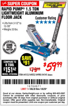 Harbor Freight Coupon PITTSBURGH RAPID PUMP 1.5 TON LIGHTWEIGHT ALUMINUM FLOOR JACK Lot No. 64980/64552/64832/68053/62160/62516/60569/64545 Expired: 1/6/20 - $59.99