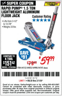Harbor Freight Coupon PITTSBURGH RAPID PUMP 1.5 TON LIGHTWEIGHT ALUMINUM FLOOR JACK Lot No. 64980/64552/64832/68053/62160/62516/60569/64545 Expired: 2/7/20 - $59.99