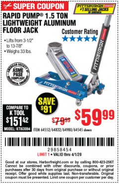 Harbor Freight Coupon PITTSBURGH RAPID PUMP 1.5 TON LIGHTWEIGHT ALUMINUM FLOOR JACK Lot No. 64980/64552/64832/68053/62160/62516/60569/64545 Valid Thru: 4/1/20 - $59.99