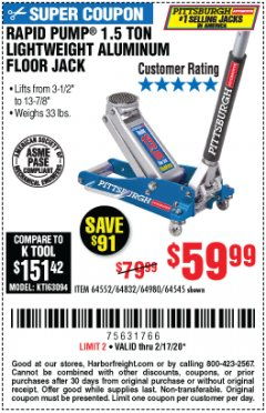 Harbor Freight Coupon PITTSBURGH RAPID PUMP 1.5 TON LIGHTWEIGHT ALUMINUM FLOOR JACK Lot No. 64980/64552/64832/68053/62160/62516/60569/64545 Expired: 2/17/20 - $59.99