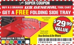 Harbor Freight FREE Coupon FOLDING SIDE TRAYS FOR TOOL CART Lot No. 56443,64641,64642,64724,64725,64726,62207 Expired: 2/12/21 - FWP
