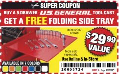Harbor Freight FREE Coupon FOLDING SIDE TRAYS FOR TOOL CART Lot No. 56443,64641,64642,64724,64725,64726,62207 Expired: 2/26/21 - FWP