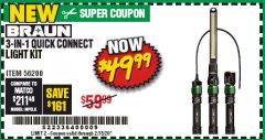 Harbor Freight Coupon BRAUN 3-IN-1 QUICK CONNECT LIGHT KIT Lot No. 56200 Expired: 2/15/20 - $49.99