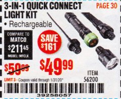Harbor Freight Coupon BRAUN 3-IN-1 QUICK CONNECT LIGHT KIT Lot No. 56200 Expired: 1/31/20 - $49.99