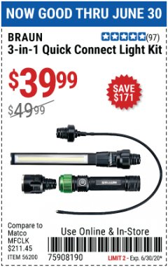 Harbor Freight Coupon BRAUN 3-IN-1 QUICK CONNECT LIGHT KIT Lot No. 56200 EXPIRES: 6/30/20 - $39.99