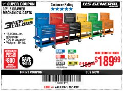 "Harbor Freight Coupon 30"", 5 DRAWER MECHANIC'S CARTS (RED, BLUE & BLACK) Lot No. 64031/64033/64032/64030/61427/64059/64060/64061/63308/95272 Expired: 10/14/18 - $189.99"