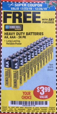 Harbor Freight FREE Coupon 24 PACK HEAVY DUTY BATTERIES Lot No. 61675/68382/61323/61677/68377/61273 Expired: 12/26/19 - FWP