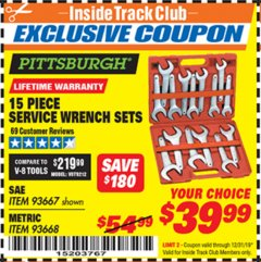 Harbor Freight ITC Coupon 15 PIECE SERVICE WRENCH SETS Lot No. 93667/93668 Expired: 12/31/19 - $39.99