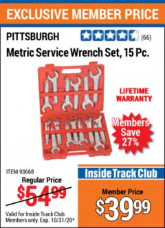 Harbor Freight ITC Coupon 15 PIECE SERVICE WRENCH SETS Lot No. 93667/93668 Valid Thru: 10/31/20 - $39.99